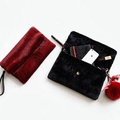 NIPONJJUYA - Flap Faux-Fur Wristlet Clutch