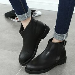 QQ Trend - Buckled Side Zip Ankle Boots