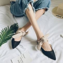 Laceuplux - Bow Faux-Suede Pointy-Toe Low-Heel Mules
