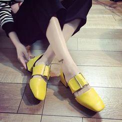 QQ Trend - 方头饰扣高跟鞋