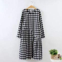 Blue Rose - Plaid Long-Sleeve Dress