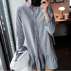 Eva Fashion - 中式領條紋襯衫連衣裙