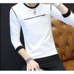 Izme - Long-Sleeve Color Block T-Shirt