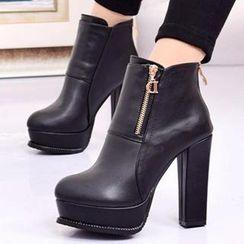 Forkix Boots - 拉链装饰厚底高跟短靴