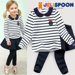 JELISPOON - Girls Set: Striped Top + Inset Mini Skirt Leggings