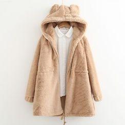 MAOMAO - Ear Detail Hood Furry Coat