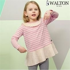 WALTON kids - Girls Set: Pleat-Trim Striped T-Shirt + Leggings