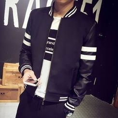LIBIN - Striped Color Panel Zip Jacket