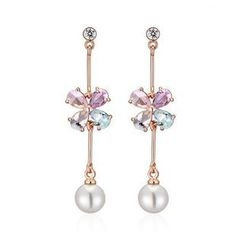 Italina - Faux Pearl Rhinestone Drop Earrings