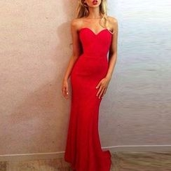 Charlotte - Strapless Plain Evening Gown