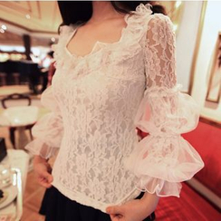 ZAPPA - Set: Lantern Sleeve Lace Long-Sleeve Top + Pleated Suspender Skirt