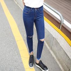 Denimot - Ripped Fray Hem Skinny Jeans