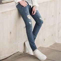 STYLEMAN - Straight-Cut Distressed Jeans