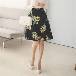 ode' - Floral Print A-Line Skirt