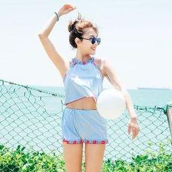 小桃泳衣 - 套装: 比基尼泳衣 + 罩衫上衣 + 短裤