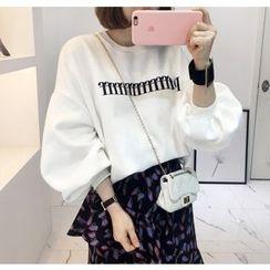 Miamasvin - Puff-Sleeve Lettering Sweatshirt