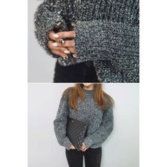 migunstyle - Round-Neck Textured Knit Top