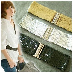 Goldenrod - Sequined Elastic Waist Belt