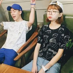 Evolu Fashion - Couple Matching Cartoon Print Short-Sleeve T-Shirt