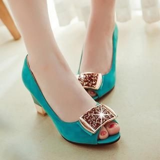 77Queen - Glitter Peep-Toe Pumps