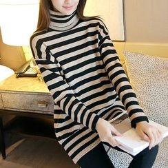 Ageha - Turtleneck Striped Long Sleeve Top