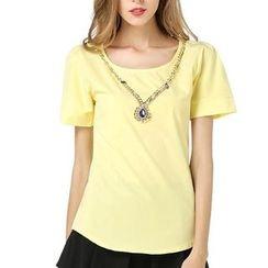 LIVA GIRL - Plain Short Sleeve Chiffon Top