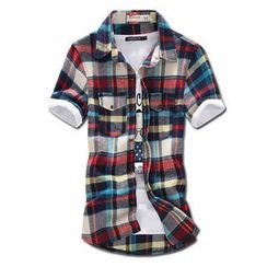 MR.PARK - Short-Sleeve Plaid Shirt