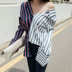 migunstyle - Color-Block Striped Shirt