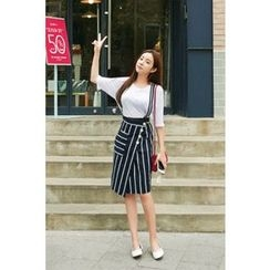CHERRYKOKO - Striped Linen Suspender Skirt