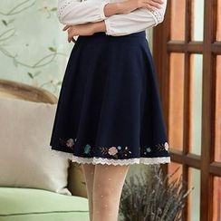 GU ZHI - Embroidered Paneled A-Line Skirt
