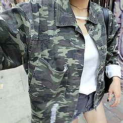 Rollis - Applique Camouflage Button Jacket