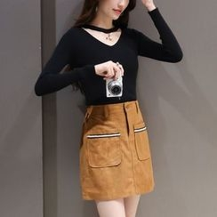 Mandalle - Set : Cutout Knit Top + Faux Suede Skirt