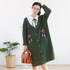 Forest Girl - Cartoon Embroidered Long Cardigan