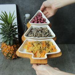 Rijushi - Set: Tree-Shape Ceramic Snack Plate