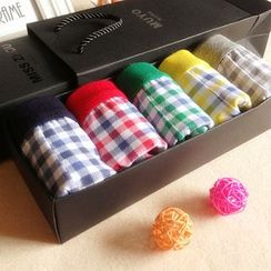 Cutesy Dream - Set of 5: Plaid Boxer Briefs