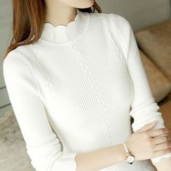 lilygirl - Scallop Trim Mock Neck Long-Sleeve Knit Top