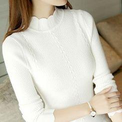 lilygirl - 扇形邊小高領長袖針織上衣