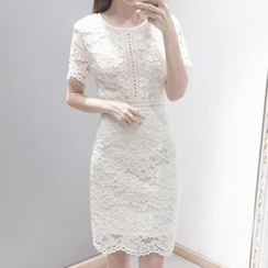 Lavogo - Short Sleeve Sheath Lace Dress