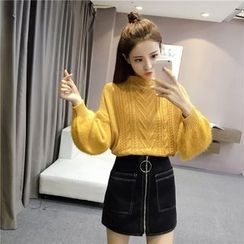 Angel Shine - Ribbed Mohair Lantern Sleeve Knit Top