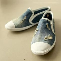 REDOPIN - Distressed Denim Slip-Ons