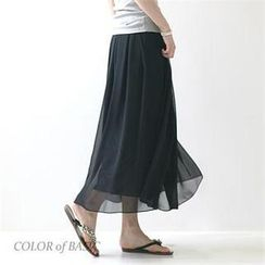 COLOR of BASIC - Chiffon Maxi Skirt