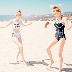 chuu - Halter Contrast-Trim Swimsuit