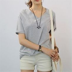 CHICFOX - V-Neck Short-Sleeve T-Shirt