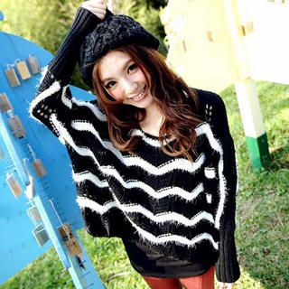 Tokyo Fashion - Striped Open-Knit Sweater