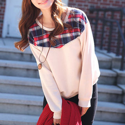 CLICK - Plaid Trim Sweatshirt