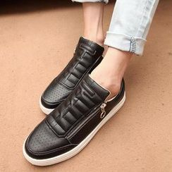 Easy Steps - Faux-Leather Zip Cutout Sneakers