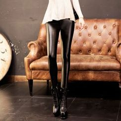 潞依韓 - 仿皮毛裡窄身長褲