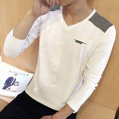 Telvi - 配色拼接V领长袖T恤
