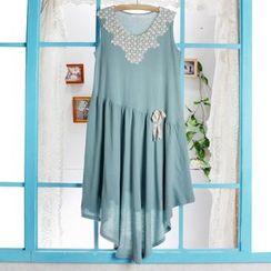 Blue Hat - 無袖斜擺蕾絲拼接連衣裙