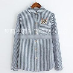 ninna nanna - Striped & Cat Embroidered Shirt